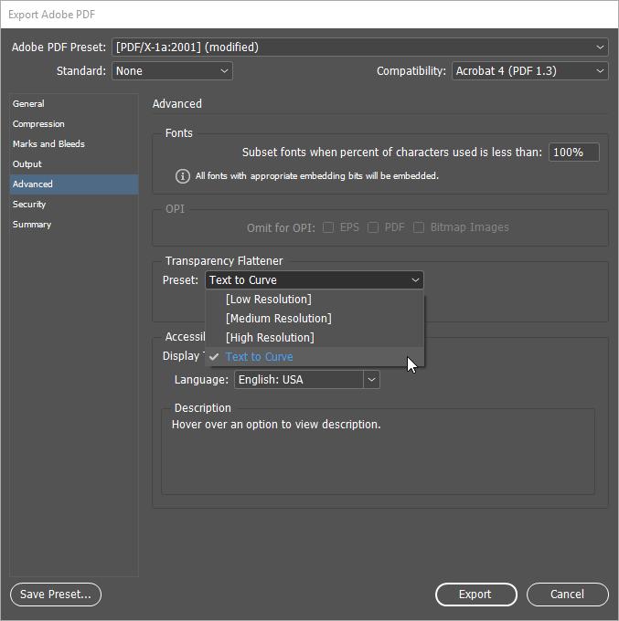 Как правильно перевести текст в кривые в InDesign и вывести PDF на печать